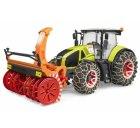Traktor Claas Axion 950 + snehové reťaze a snehová fréza