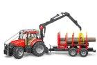 Lesný traktor s prívesom